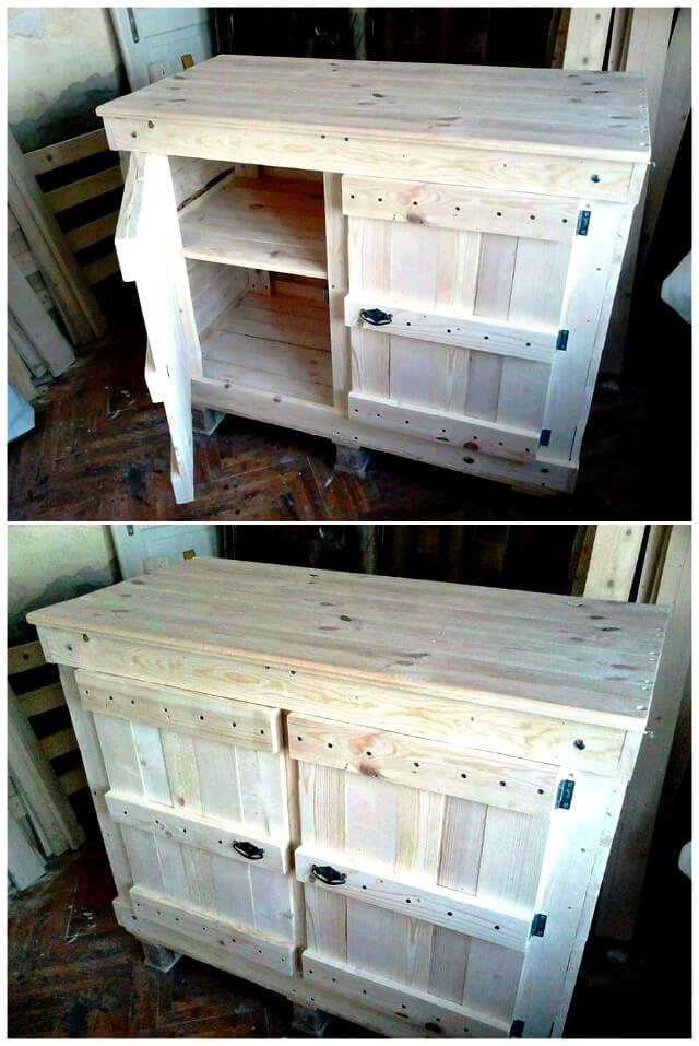 Pallet Wood Cabinet Unit For Kitchen Easy Pallet Ideas