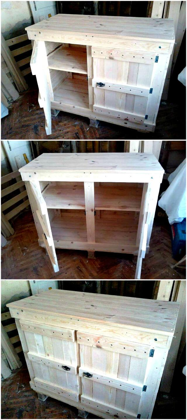Pallet Wood Cabinet Unit For Kitchen Easy Pallet Ideas