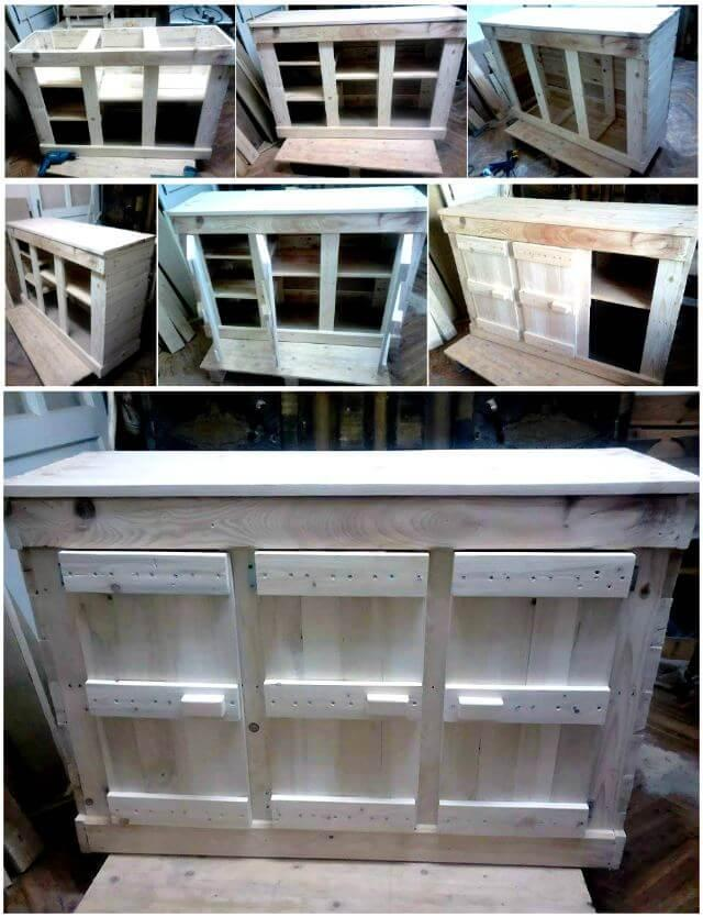 Wooden Pallet Cabinet Unit for Kitchen - Pallet Furniture Ideas - Pallet Ideas - Pallet Projects