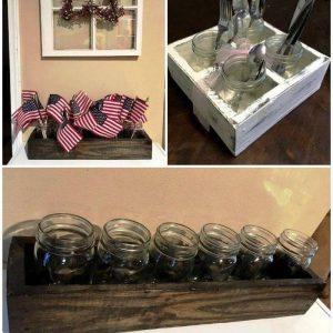 DIY Pallet and Mason Jar Organizer, Pallet Ideas, Pallet Furniture