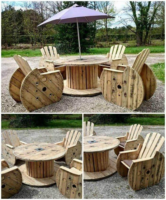 Pallet and Cable Spool Dining Table with 4 Chairs, Pallet ideas, pallet furniture, pallet projects, pallet wood ideas