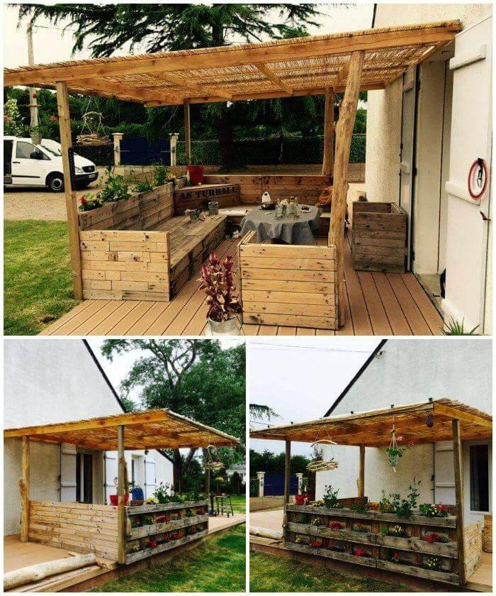 Wooden Deck Made with Pallets and Old wood Logs, Pallet Projects, Pallet Ideas, Wooden Pallet Furniture Projects