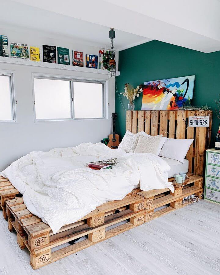 Wooden pallet bed frame