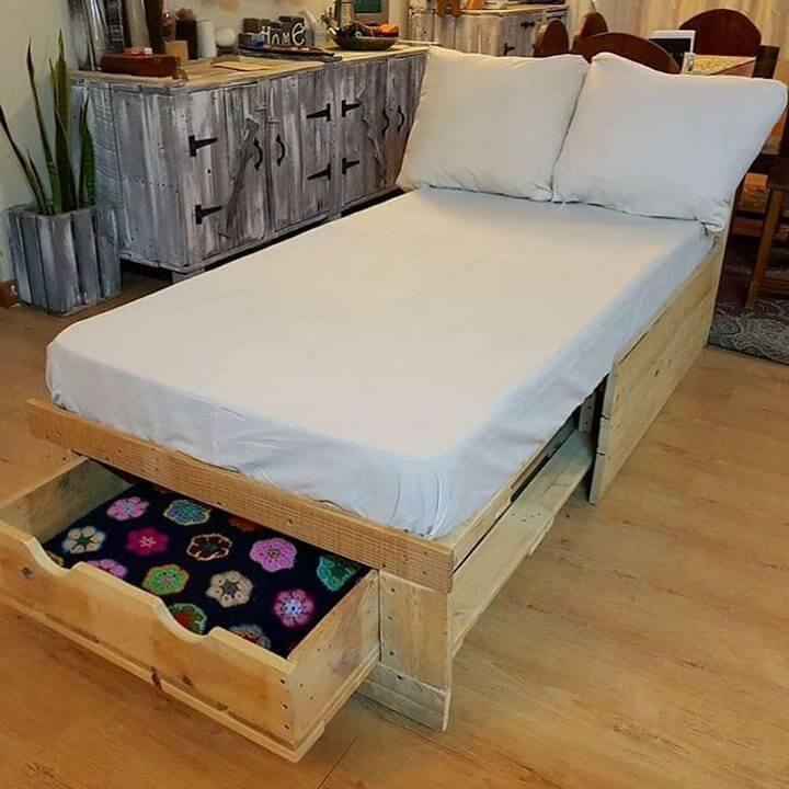 pallet bed with underneath storage