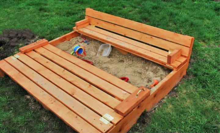 DIY Sand Box with Built in Seats