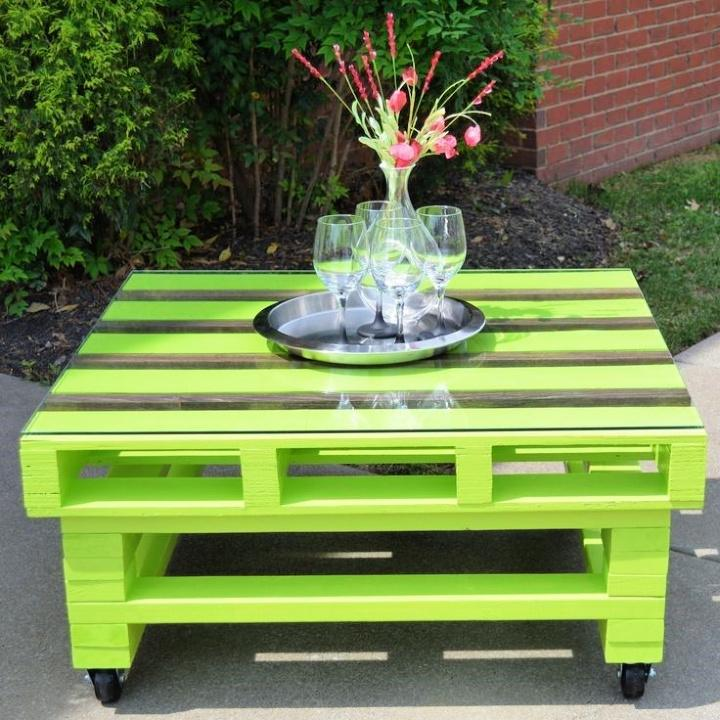 Painted Wooden Pallet Coffee Table