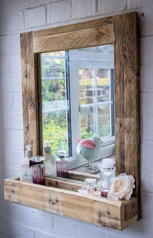 Pallet Bathroom Mirror with Shelf