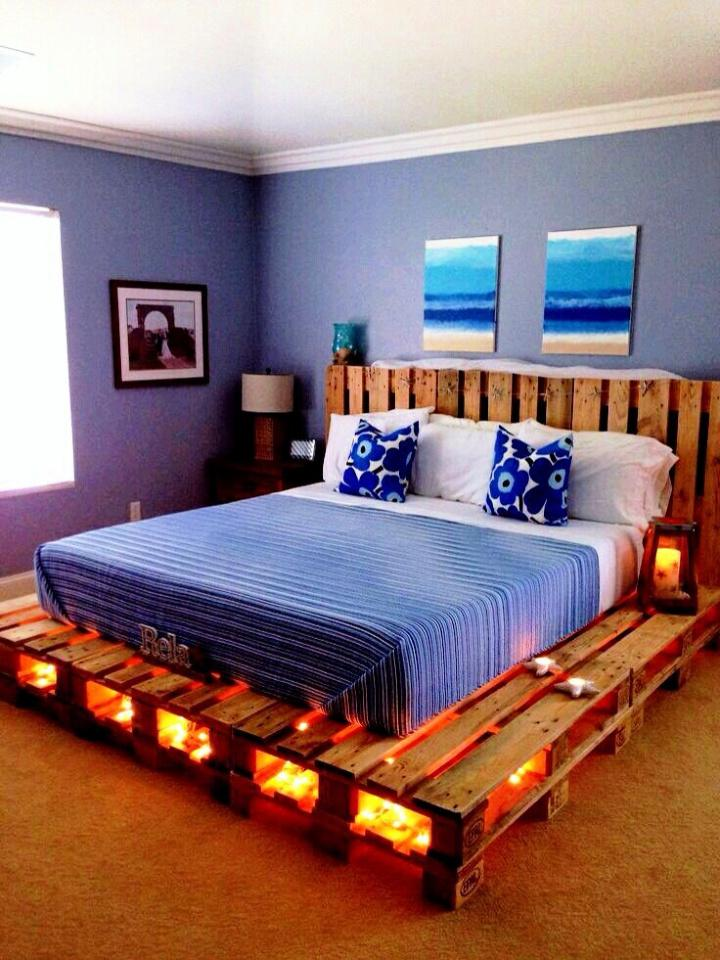 Pallet Bed Frame with Lighting