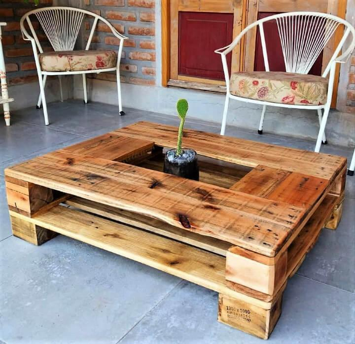 Pallet Coffee Table with Planter Centerpiece